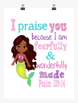 African American Ariel Princess Christian Nursery Decor Print - Fearfully & Wonderfully Made Psalm 139:14
