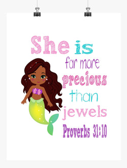 African American Ariel Princess Christian Nursery Decor Print - She is far more Precious than Jewels - Proverbs 31:10