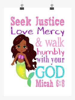 African American Ariel Princess Christian Nursery Decor Print - Seek Justice Love Mercy - Micah 6:8
