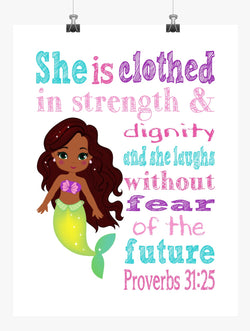 African American Ariel Princess Christian Nursery Decor Print - She is clothed in strength & dignity - Proverbs 31:25