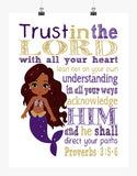 African American Ariel Mermaid Princess Christian Nursery Decor Print - Trust in the Lord with all your heart - Proverbs 3:5-6