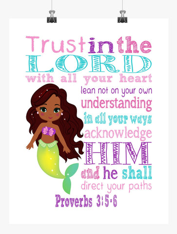 African American Ariel Princess Christian Nursery Decor Art Print - Trust in the Lord with all your heart - Proverbs 3:5-6