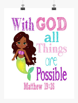 African American Ariel Princess Christian Nursery Decor Print - With God All Things Are Possible - Matthew 19:26