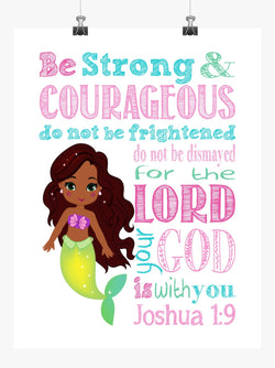 African American Ariel Princess Christian Nursery Decor Print, Be Strong & Courageous Joshua 1:9