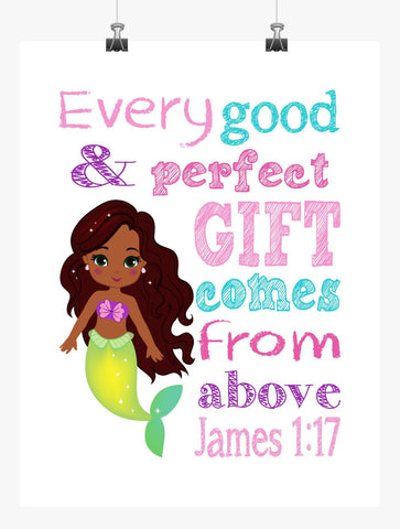 African American Ariel Christian Princess Nursery Decor Wall Art Print - Every Good and Perfect Gift Comes From Above - James 1:17