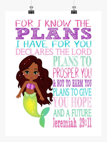 African American Ariel Christian Princess Nursery Decor Wall Art Print - For I Know The Plans I Have For You - Jeremiah 29:11
