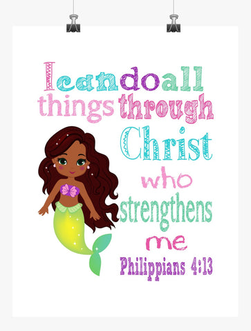 African American Ariel Princess Christian Nursery Decor Print - I Can Do All Things Through Christ - Philippians 4:13