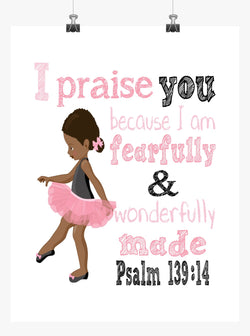 African American Ballerina Christian Nursery Decor Print - Fearfully & Wonderfully Made Psalm 139:14
