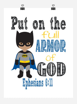 African American Batman Superhero Christian Nursery Decor Art Print - Put on the full Armor of God - Ephesians 6:11