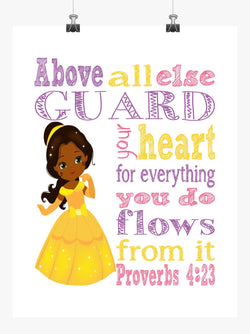 African American Belle Christian Princess Nursery Decor Print, Above all else Guard your Heart - Proverbs 4:23