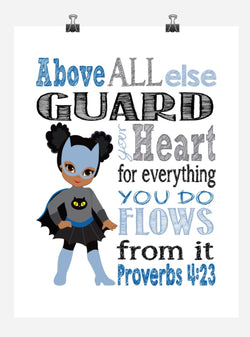Catgirl Superhero Christian Nursery Decor Print - Above all else Guard your Heart - Proverbs 4:23