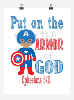 African American Captain America Superhero Christian Nursery Decor Art Print - Put on the full Armor of God - Ephesians 6:11