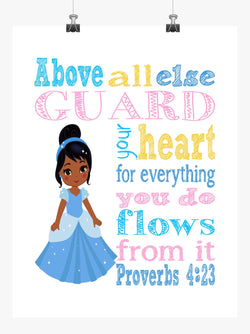 African American Cinderella Christian Princess Nursery Decor Print, Above all else Guard your Heart - Proverbs 4:23