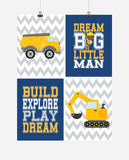 African American Construction Nursery Prints Set of 4 Dream Big Little Man, Build, Explore