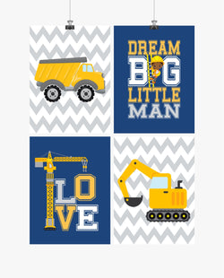 African American Construction Nursery Prints Set of 4 Dream Big Little Man, Love