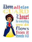 African American Snow White Christian Princess Nursery Decor Print, Above all else Guard your Heart - Proverbs 4:23