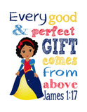 African American Snow White Christian Princess Nursery Decor Print, Every Good and Perfect Gift Comes From Above - James 1:17