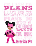 African American Catgirl Superhero Christian Nursery Decor Print - For I Know The Plans I Have For You - Jeremiah 29:11