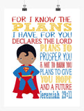 African American Superman Superhero Christian Nursery Decor Art Print - For I Know The Plans I Have For You - Jeremiah 29:11