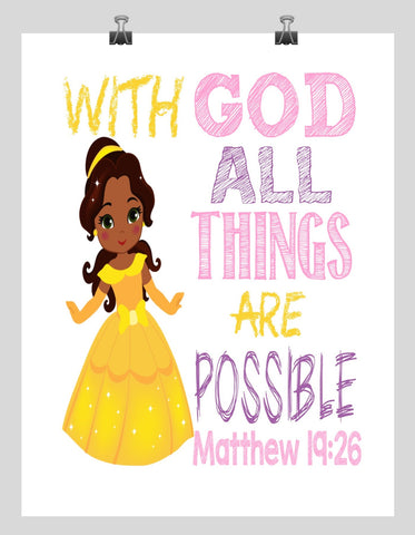 African American Belle Christian Princess Nursery Decor Wall Art Print - With God all things are possible - Matthew 19:26