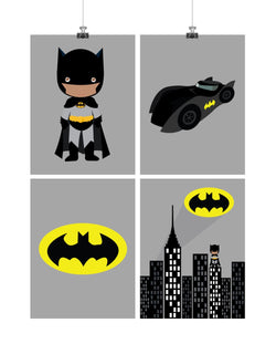 Set of 4 - Super Hero African American Batman Wall Art Prints, Batman, Batmobile, Cityscape, Bat Symbol