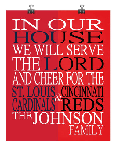 A House Divided St. Louis Cardinals & Cincinnati Reds Baseball Personalized Family Name Christian Print