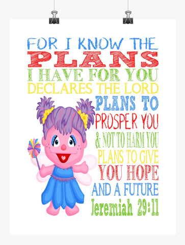 Abby Cadabby Sesame Street Christian Nursery Decor Print, For I Know The Plans I Have For You, Jeremiah 29:11