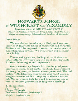 Personalized Harry Potter Acceptance Letter with Apology for late delivery - School of Witchcraft and Wizardry