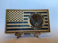 Small American Flag, US Air Force Military desk flag, Engraved Wood Painted Rustic Style Flag