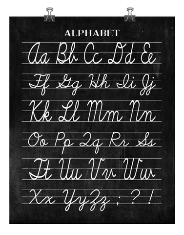 Vintage Cursive Alphabet Classroom Poster Chalkboard Word Art Print - Back to School Teacher Appreciation Gift - Multiple Sizes