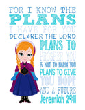 Frozen Christian Princess Anna Nursery Decor Wall Art Print - For I Know The Plans I Have For You - Jeremiah 29:11