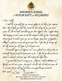 Personalized Harry Potter Apology for Late Delivery of Acceptance Letter - Perfect Add on to Letter