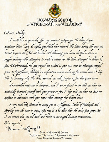 Personalized Harry Potter Apology for Late Delivery of Acceptance Letter - Perfect Add on to Acceptance Letter - Headmistress McGonagall