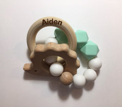 Engraved Personalized Gender Neutral Hedgehog Montessori Wooden Teether Rattle Organic Wood Teething Ring Gift for Baby Shower