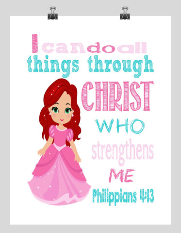 Ariel Christian Princess Nursery Decor Art Print - I Can Do All Things Through Christ Who Strengthens Me - Philippians 4:13