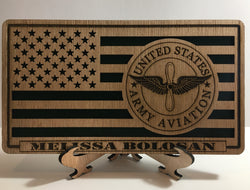 Small American Flag, 82nd Airborne US Army Aviation desk flag, Engraved Wood Painted Rustic Style Flag