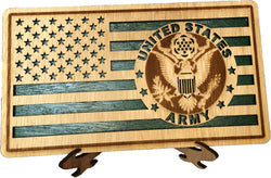 Small American Flag, US Army Military desk flag, Engraved Wood Painted Rustic Style Flag