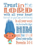 Aspen Heitz Trolls Christian Nursery Decor Print, Trust in the Lord with all your Heart - Proverbs 3:5-6