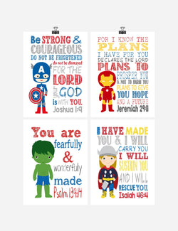 Avengers Superhero Christian Nursery Decor Art Print Set of 4 - Thor, Captain America Hulk and Ironman