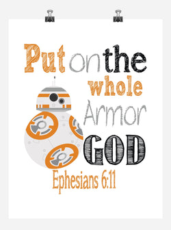 BB8 Christian Star Wars Nursery Decor Art Print, Put on the whole Armor of God - Ephesians 6:11