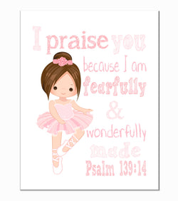 Pink Ballerina Christian Nursery Decor Print, Fearfully & Wonderfully Made Psalm 139:14