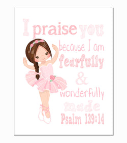 Ballerina Christian Nursery Decor Print in Pink , Fearfully & Wonderfully Made Psalm 139:14