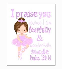 Purple Ballerina Christian Nursery Decor Print, Fearfully & Wonderfully Made Psalm 139:14