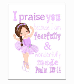 Ballerina Christian Nursery Decor Print in Purple , Fearfully & Wonderfully Made Psalm 139:14