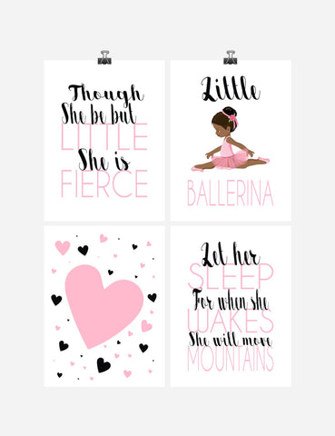 African American Ballerina Inspirational Nursery Decor Set of 4 Prints - Little But Fierce