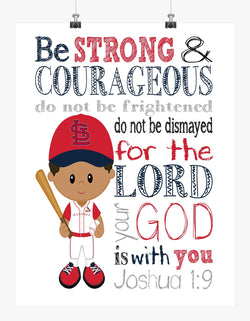 Personalized African American St. Louis Cardinals Baseball Christian Sports Nursery Decor Print - Be Strong and Courageous Joshua 1:9