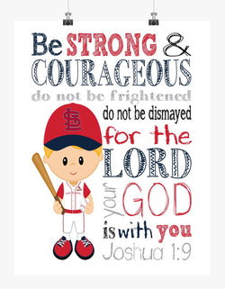 Personalized St. Louis Cardinals Baseball Christian Sports Nursery Decor Print - Be Strong and Courageous Joshua 1:9