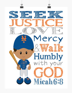 Personalized African American New York Mets Baseball Christian Sports Nursery Decor Print - Be Strong and Courageous Joshua 1:9