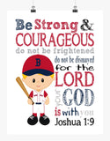 Boston Red Sox Christian Sports Nursery Decor Art Print - Be Strong & Courageous Joshua 1:9