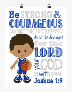 African American UK Kentucky Wildcats  Christian Sports Nursery Print - Be Strong and Courageous Joshua 1:9